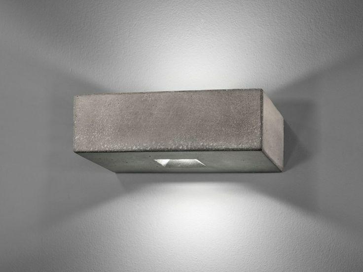 Lampada da parete a LED in cemento BRIQUE O - LUCIFEROS: Versione bi-emissione