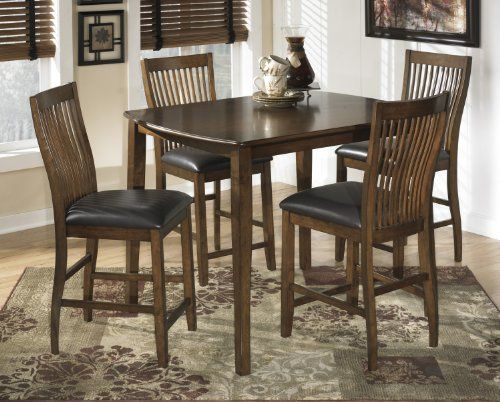 Signature-Design-by-Ashley-D293-223-Stuman-Collection-Counter-Height-Dining-Room-Table-and-Barstools-Set-of-5-Medium-Brown-0