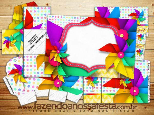Lindo Kit digital completo com o Tema Cataventos! Totalmente gratuito para você usar na sua festa!