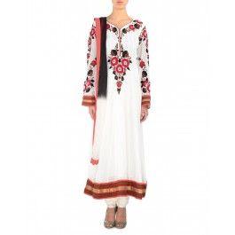 Floral Embroidered Pristine White Anarkali Suit