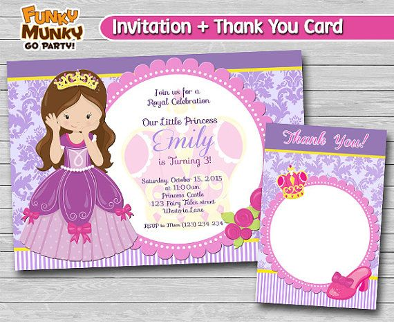 Princess Birthday Invitation  Cute Princess by funkymunkygoparty
