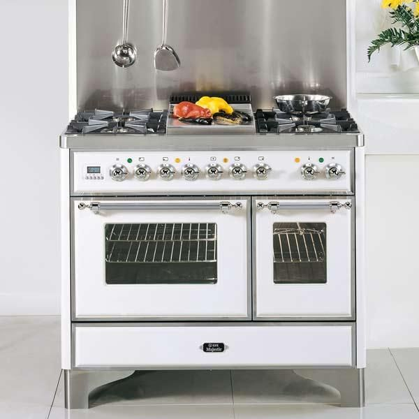 We love, love, love this dual-fuel white-enamel and stainless-steel beauty from ilve. It comes in a retro 40-inch size. Remove the grates on two of its six open burners for a griddle insert. Comes in six other colors and with the added option of bronze, brass, or chrome trim. About $8,250 from ilveappliances.com   thisoldhouse.com