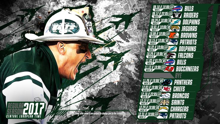 Schedule wallpaper for the New York Jets Regular Season, 2017 Central European Time. Made by #tgersdiy