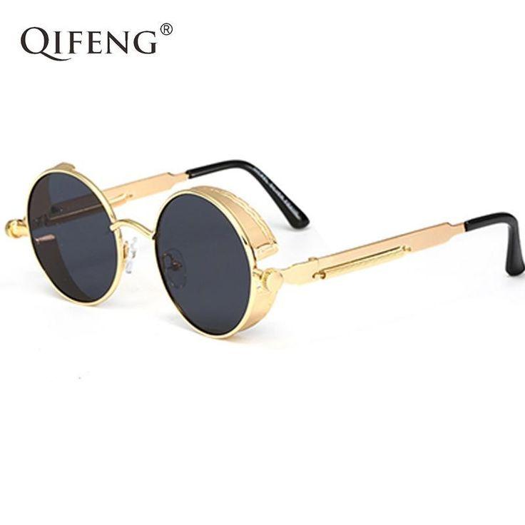 Retro Sonnenbrillen Steampunk Vintage Brillen Metall Runde für Frauen und Männer