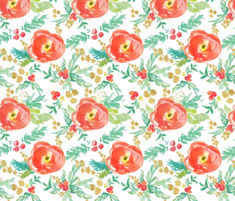 Winter Floral in Reds with Holly and Metallic Gold fabric by sarahschaitkin on Spoonflower - custom fabric
