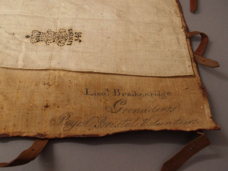 Inside flap of a British soldiers Back Pack from the Royal Bristol Volunteers,1804-1814 from the Bristol Museum.