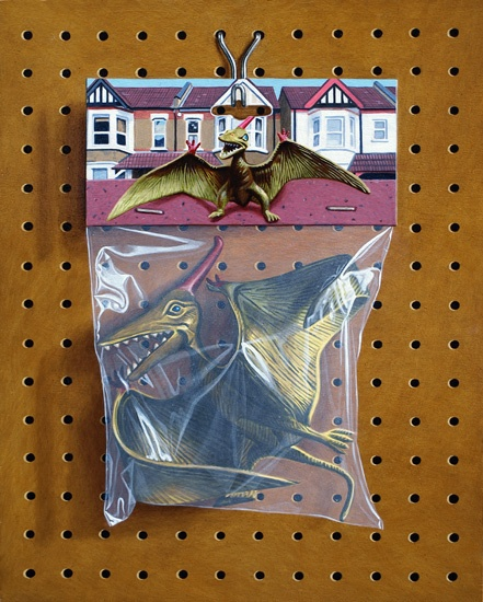 Hyperrealism : Simon Monk.  In each oil painting he depicts beloved superheroes known for their epic battles, hung and stored away in plastic bags.