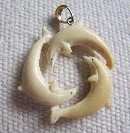 Vintage Carved Bovine Bone Circle Of Dolphins Pendant, 14k Bail