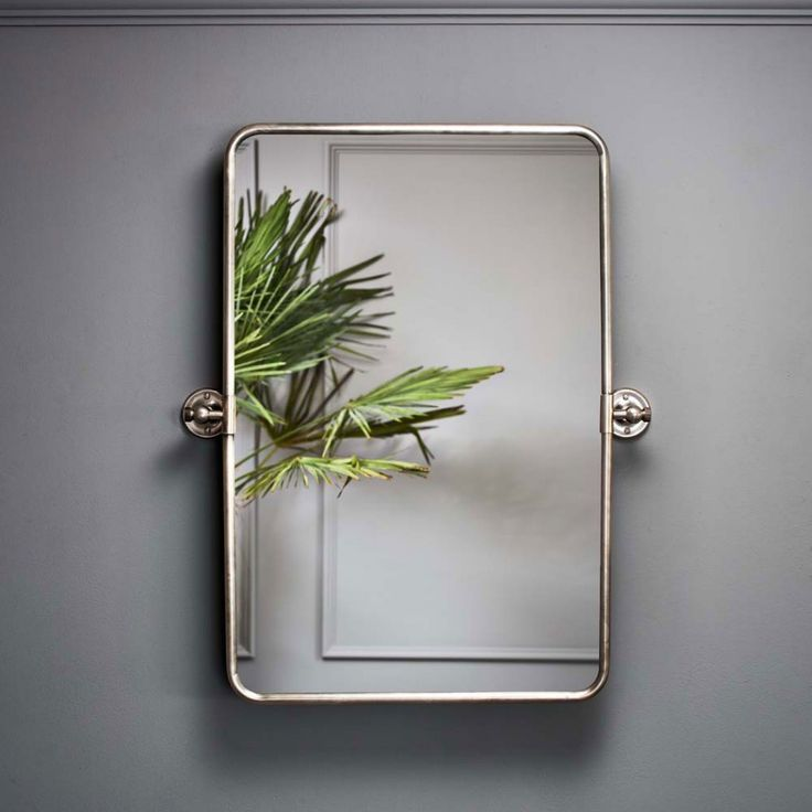 Otto Rectangular Tilting Mirror In Antique Silver