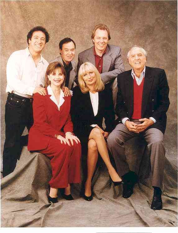 The Laverne & Shirley cast: Eddie Mekka (Carmine), David Lander (Squigg), Michael McKean (Lenny), Cindy Williams (Shirley), Penny Marshall (Laverne), and Garry Marshall (Penny's brother & show's producer).