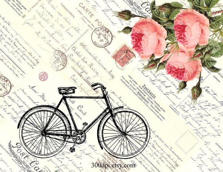 bike & roses large digital image printable download por 300dpi