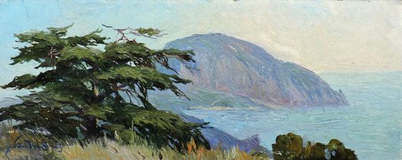 VINTAGE IMPRESSIONIST ARTWORK, Old Original Oil Painting by A.Bednoshey 1980s, Sea side, Coastal, Seascape, Summer Forest Mountain landscape