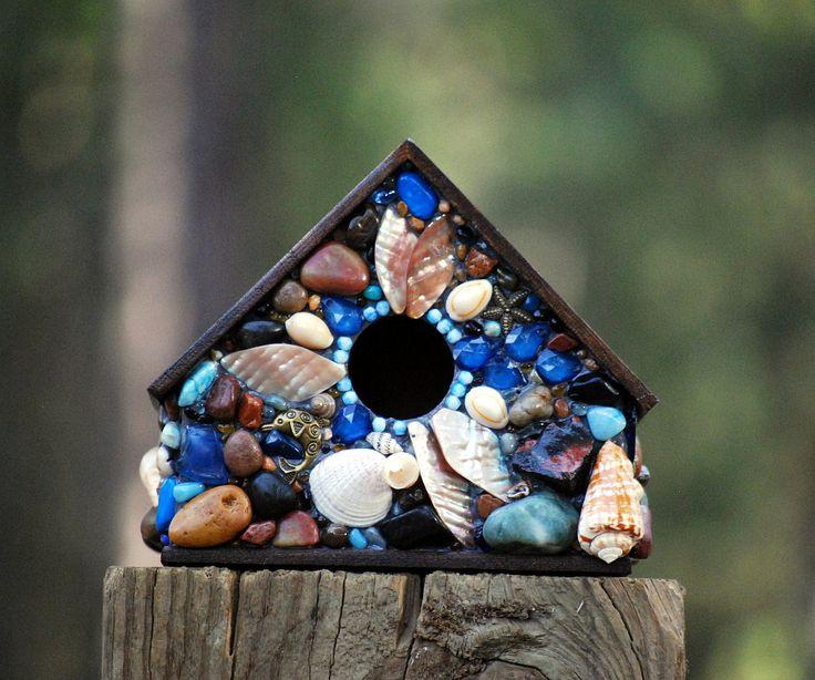 Tropical, Mosaic Birdhouse, beach house, ocean decor, beach art, shell birdhouse, beach glass, bird home, tropical birdhouse, outdoor house #handmadehour #homedecor