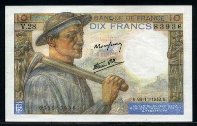 World Paper Money France 10 French Francs war banknote bill