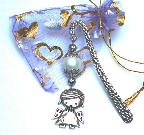 Bookmarks ANGEL silver pearl