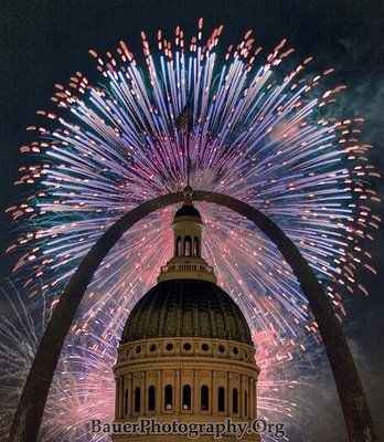 .St. Louis - Arch and Old Courthouse under fireworks