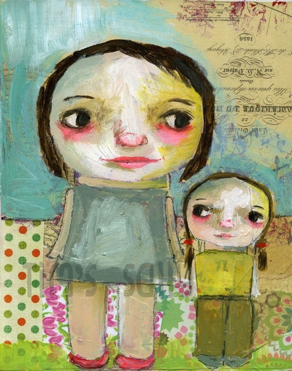 Like mother like daughter - mixed media art print by Mindy Lacefield. 18.00, via Etsy.