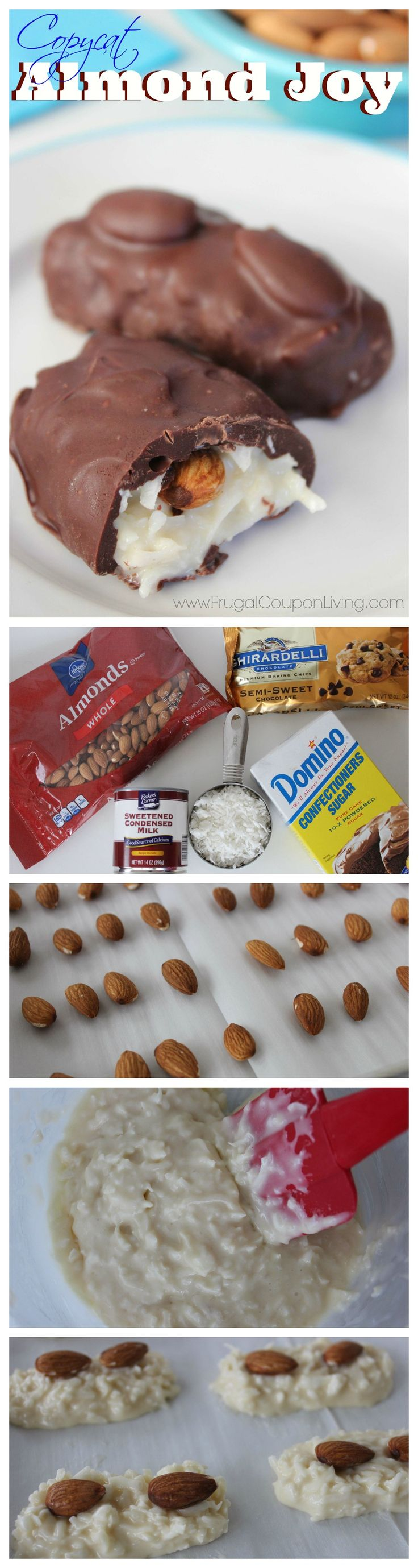 Frugal Coupon Living's Easy Copycat Almond Joy -  Homemade Almond Coconut and Chocolate Treat. This is a homemade candy tutorial. Pin to Pinterest.