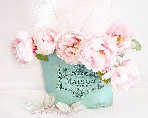 Parigi peonie fiore fotografia, sognante Shabby Chic Decor, foto rosa peonia, rosa decorazione floreale di peonie Teal Aqua, bambino ragazza Nursery Decor