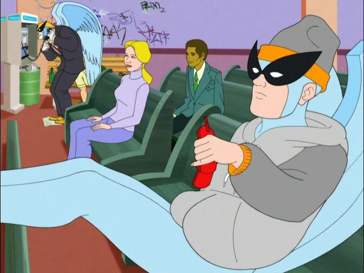 "Harvey Birdman, Attorney at Law - Season 1 Episode 10 - ""SPF"". Harv calls  Peanut for more tanning cremmmme. | Harvey birdman, Birdman, Animation film"