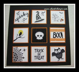 Lynn's fun Halloween Sampler with Among the Branches, Happy Scenes, Howl-o-ween Treat, Spider Web Doilies, Boo to You framelits, & more - all from Stampin' Up!