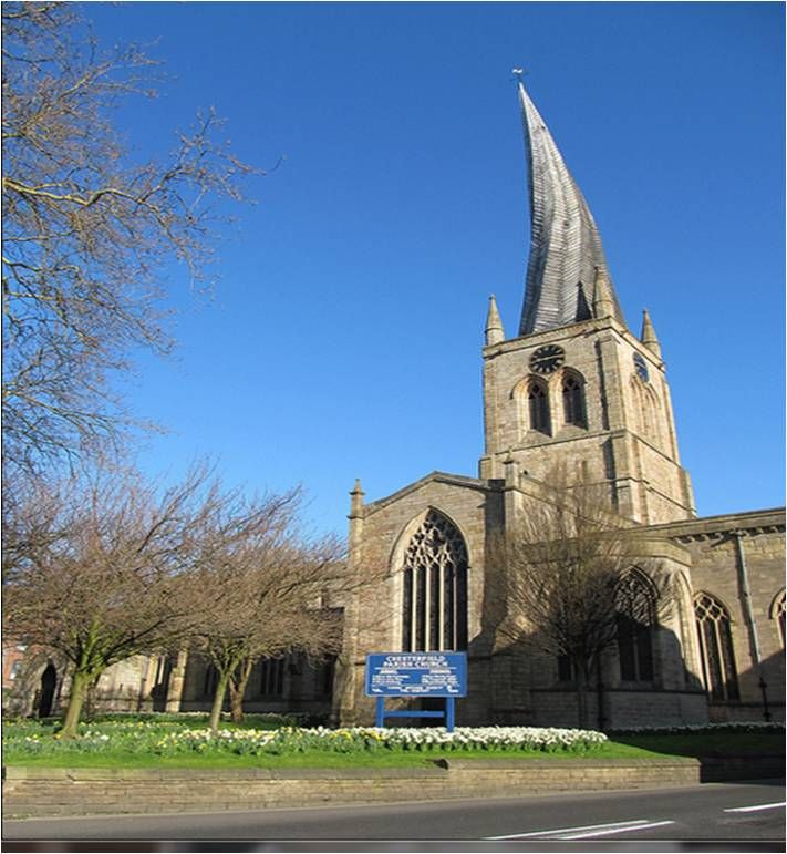 Chesterfield's Crooked Spire is the largest church in Derbyshire. The spire currently leans 9ft 6in to the southwest and leans more and more every year! Smith of Derby clockmakers maintain the exterior clock seen on the clock tower today.
