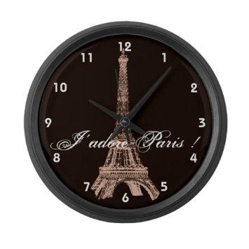 Amazon.com: Torre Eiffel de Paris Grande Relógio de parede por CafePress - Black: Casa e Cozinha