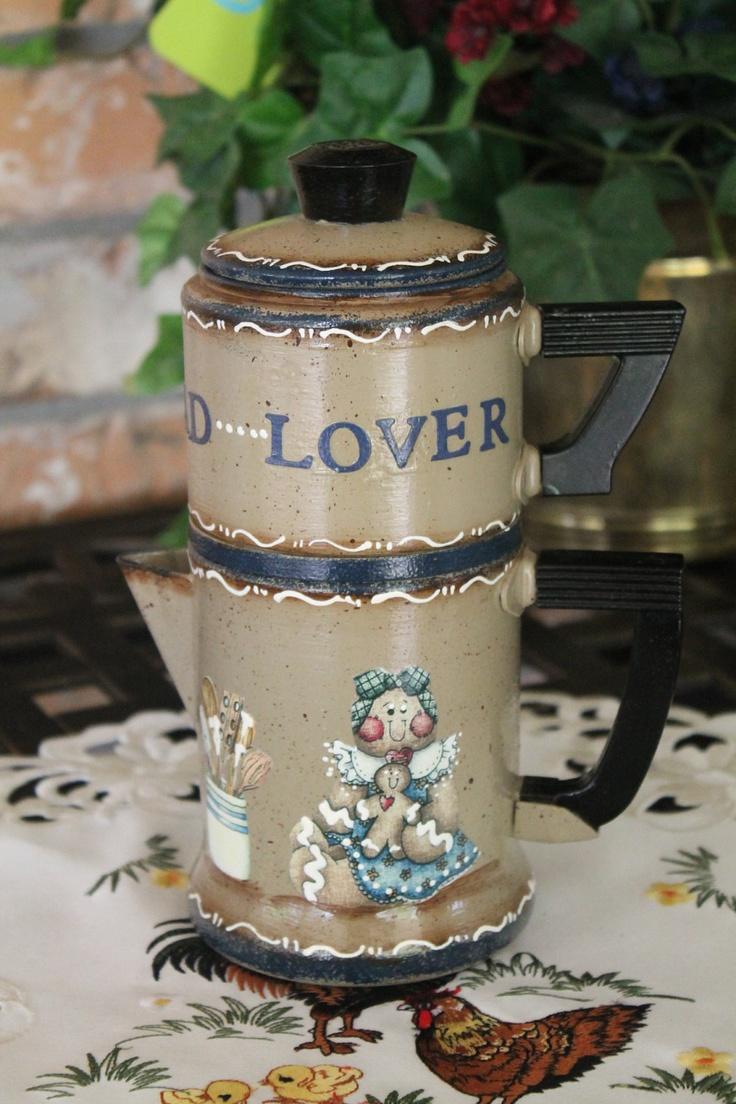 Vintage Small Coffee Pot...GINGERBREAD COLLECTOR. $29.95, via Etsy.