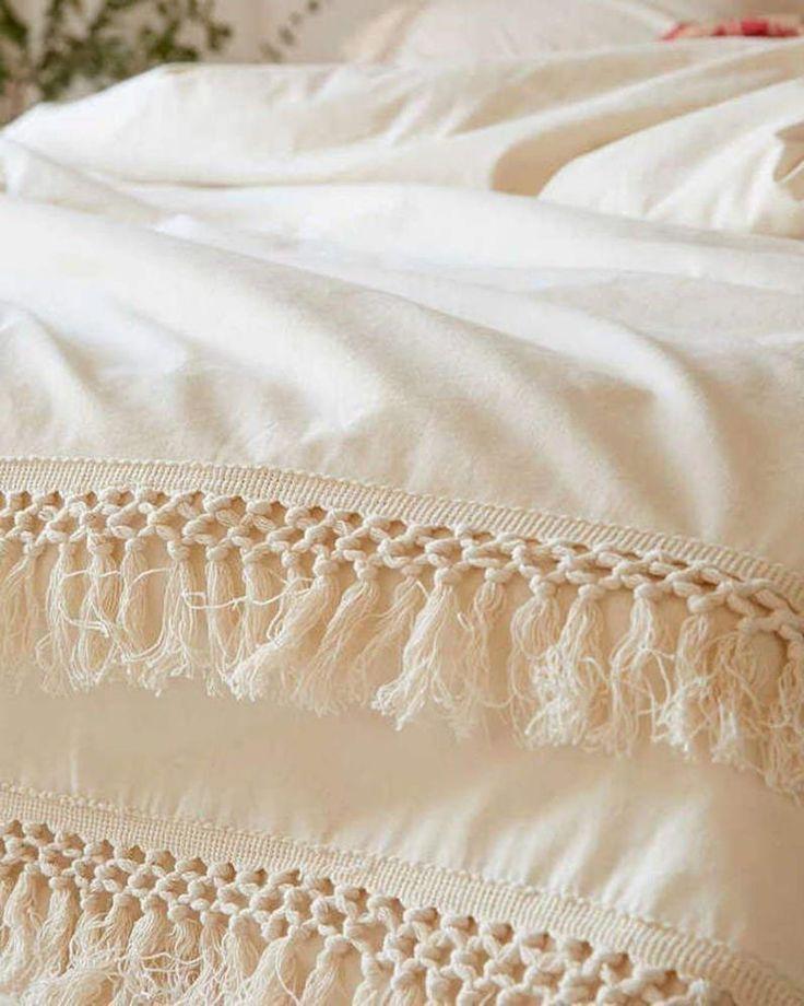 3 Pcs Off White Doona Duvet Cover Handmade Fringes Cotton Etsy Boho Bedding Cotton Duvet Bohemian Bedding