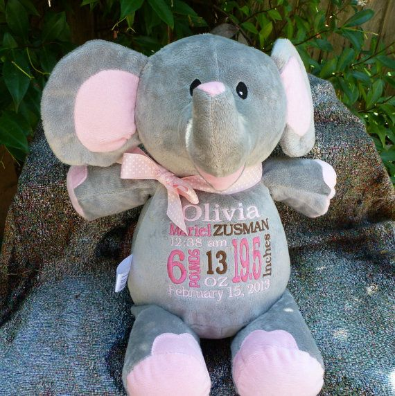 Monogrammed Baby Gift Personalized Elephant Birth Announcement  by WorldClassEmbroidery, $37.99