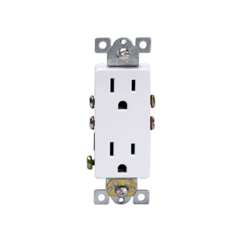 10PC-Decorator-15A-White-Receptacle-Residential-5-15R-Outlet-61501-W-Plug