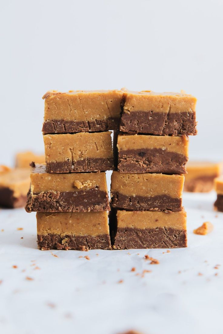 Layered Chocolate & Peanut Butter Freezer Fudge made with only 4 ingredients: peanut butter, coconut butter, maple syrup and cocoa powder! Gluten free & vegan.