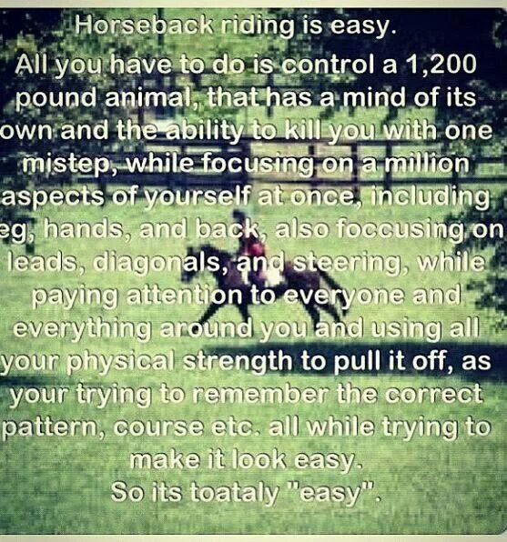It's not easy. It's a sport. And people say it's just sitting around on an animal