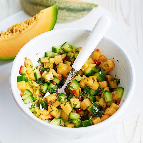 Frisse salsa met komkommer en meloen