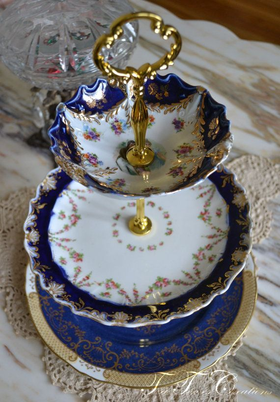 RESERVED to Wedad English Tea Cobalt Blue Cakestand 3 Tier Vintage China Tea Stand for Weddings & 50 best Tea Times Creations Vintage China Stands images on Pinterest ...
