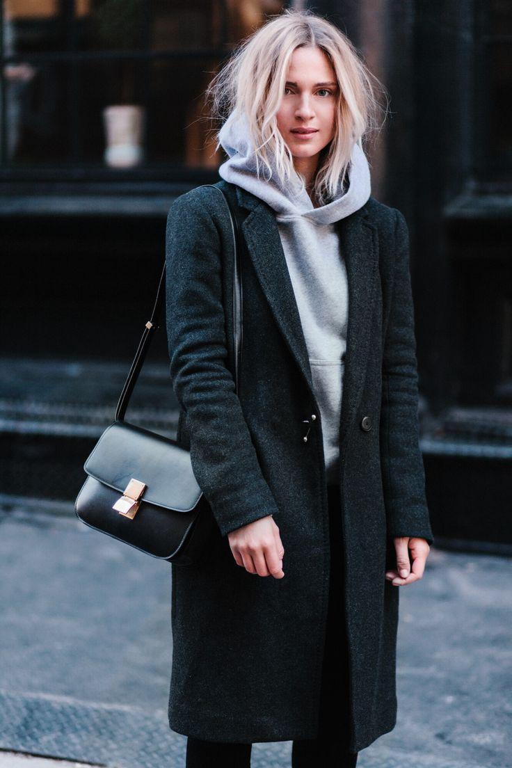 Celine box bag, Aritzia coat, Citizens of Humanity jeans and Saint Laurent boots. Via Mija