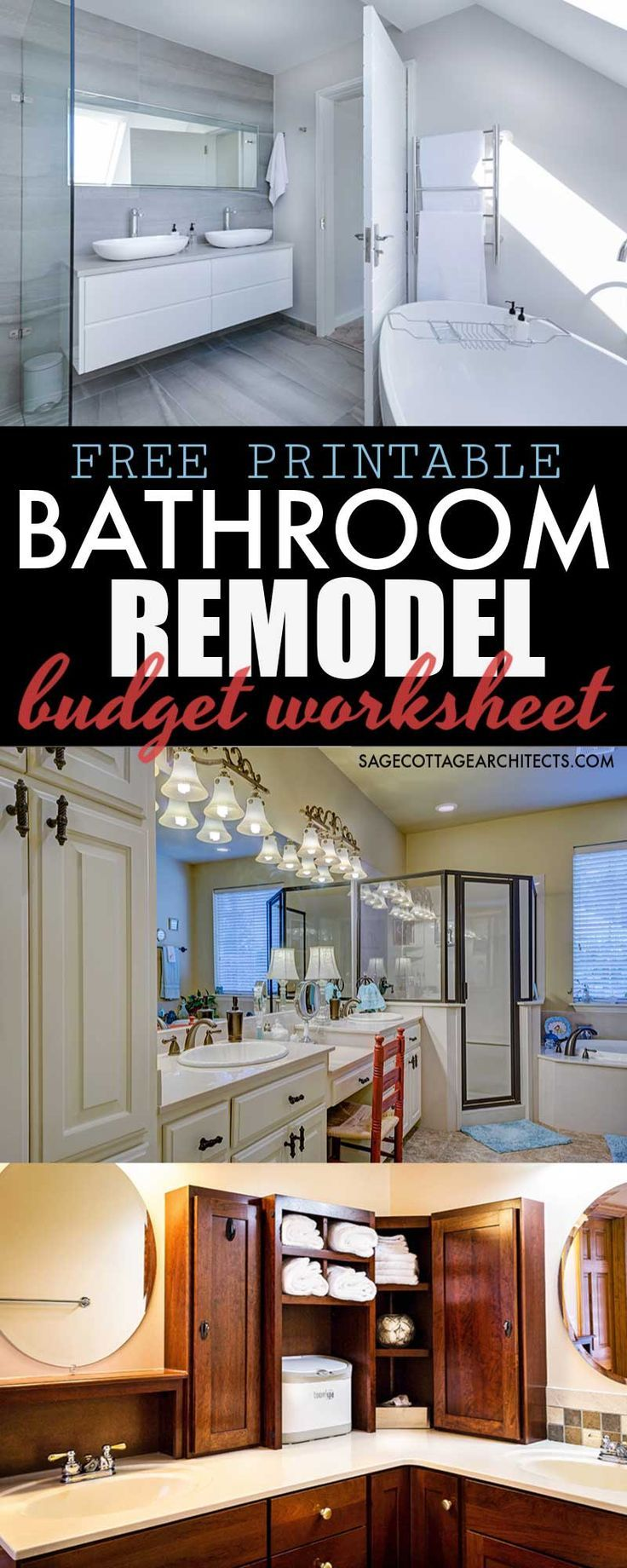 Average Cost Of A Bathroom Remodel Free Budgeting Printable Sage Cottage Architects Budget Bathroom Remodel Bathrooms Remodel Bathroom Remodel Plans