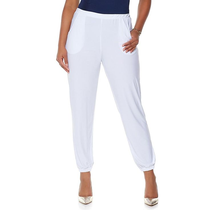 Slinky® Brand Solid Knit Harem Pant with Pockets - White