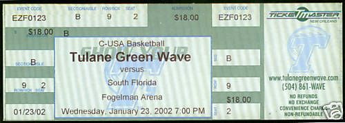 LOT OF 2 DIFFERENT 2002-03 TULANE GREEN WAVE FULL BASKETBALL TICKETS NOV AND JAN #TulaneGreenWave #Tickets