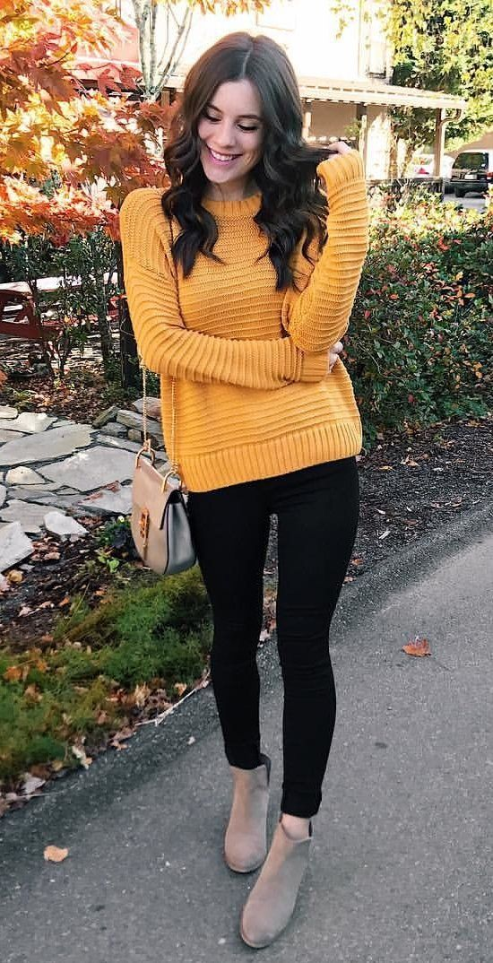 29a42a4af0f0d  fall  outfits women s yellow crew-neck sweater and black leggings outfit