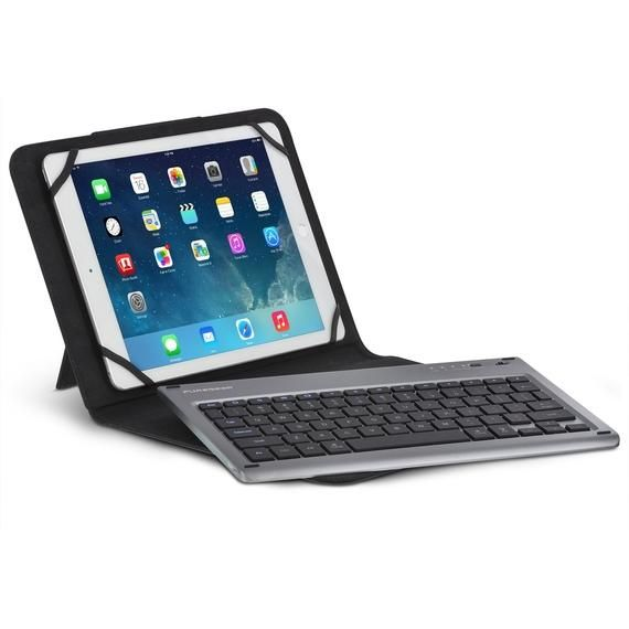 PureGear Universal Premium Aluminum Bluetooth Keyboard with Folio for 9-10 inch Tablets