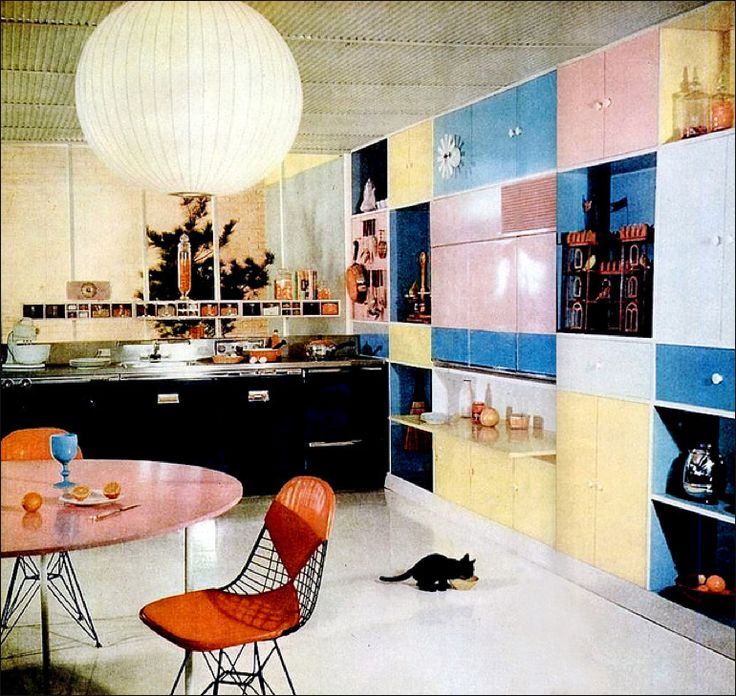 1954 State Of The Art Kitchen, Complete With Bubble Type Lamp, Eames Bikini  Chairs
