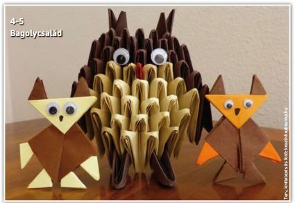 Bagoly család tangrami technikával (origami papírból).