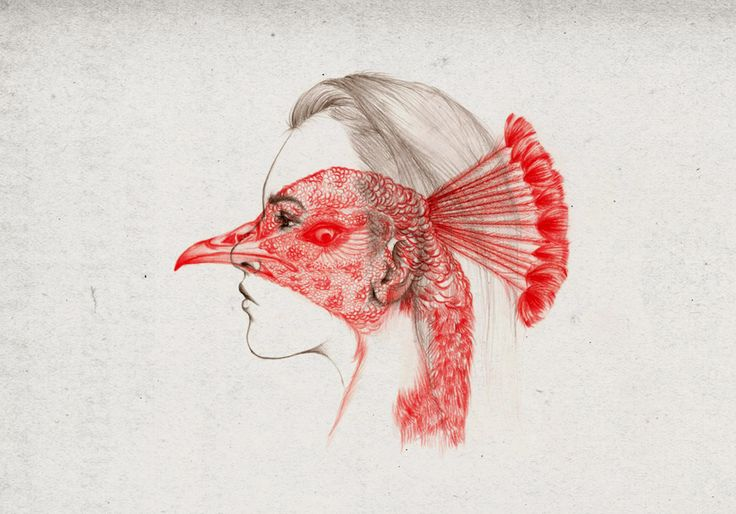 Peony Yip, aka The White Deer, is an illustrator currently living and working in Hong Kong. Her minimalist portraits of young women, rendered in pencil and superimposed with animals tinted in red, are fresh and full of vitality, reflecting the wild nature of youthful souls and the beauty of honest personal expression.