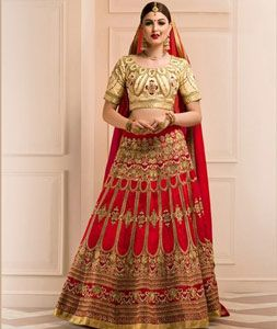 Buy Red Banglori Silk Wedding Lehenga Choli