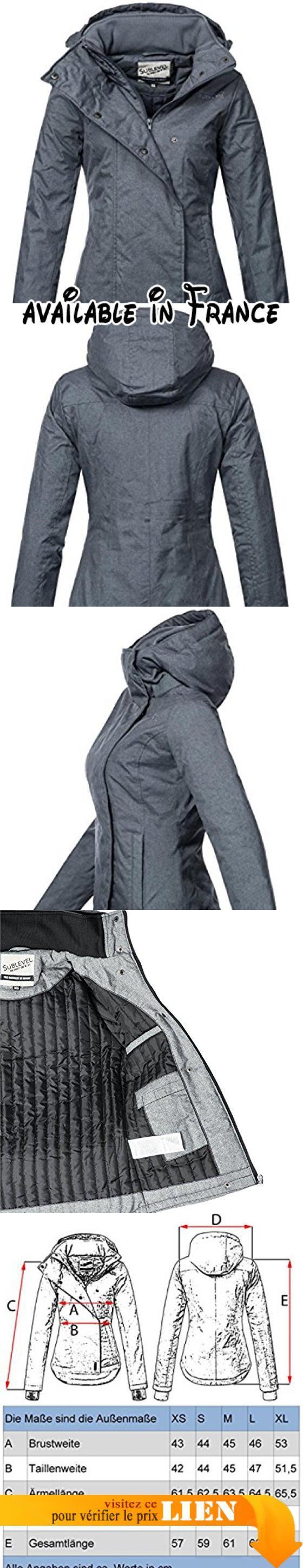 Sublevel Femme Veste d'hiver 46550d 9couleurs XS à XL -  Bleu - Large. Coupe sportive pour femme coupe-vent avec capuche amovible en melierter ou petite Optik. Cette veste pour femme est mitteldick doublé et contribue donc pas sur. Col haut fermeture éclair à l'avant, protège du vent et du froid. Ourlet est vorner un peu plus courte que l'arrière (style mulet)-Longueur idéale jusqu'à ce que le po. La veste Basic sobre et séduisent par leur design sportif et