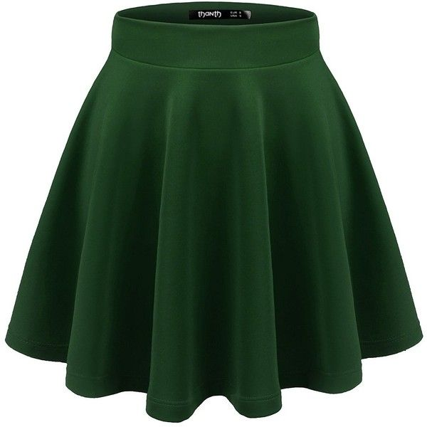 Thanth Womens Versatile Stretchy Pleated Flare Skater Skirt ($9.97) ❤ liked on Polyvore featuring skirts, stretch skirts, green pleated skirt, knee length pleated skirt, stretchy skirt and pleated circle skirt