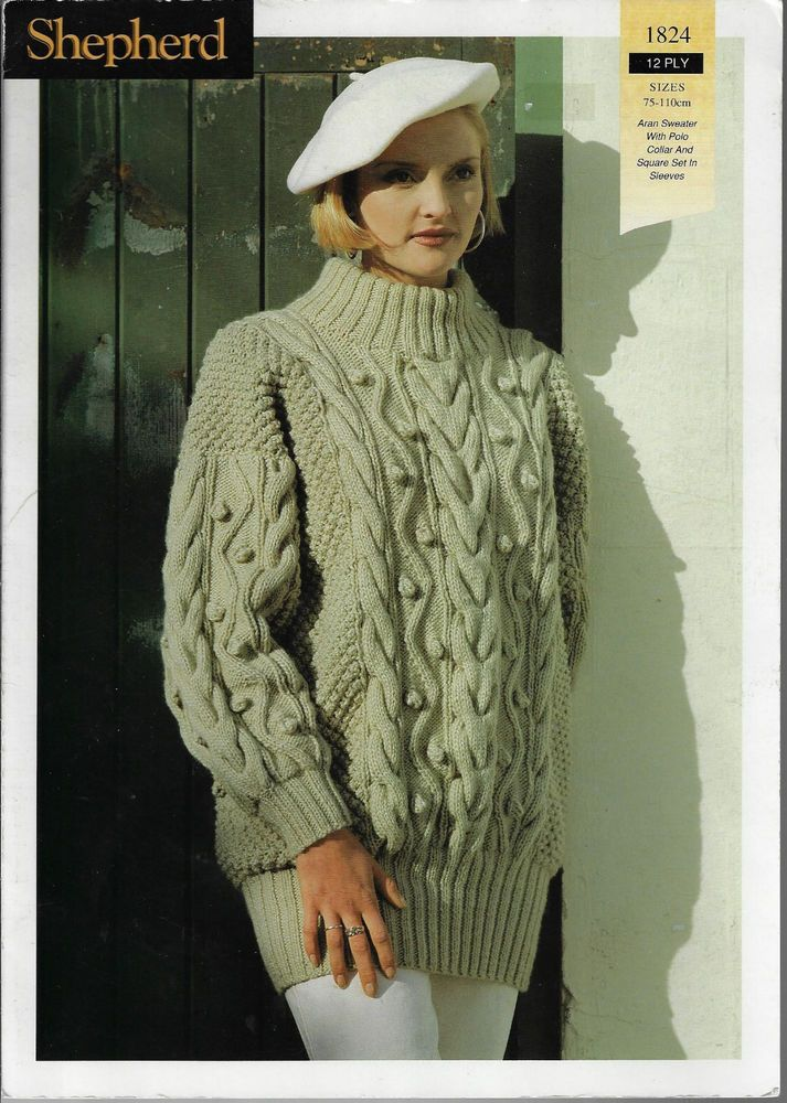 00e4437e0 Women s Cable Aran Sweater Shepherd 1824 knitting pattern 12 ply yarn   Shepherd