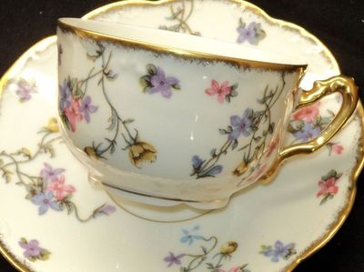 4:00 Tea...Lanternier Limoges...teacup and saucer with a tiny floral pattern and gold gilt trim