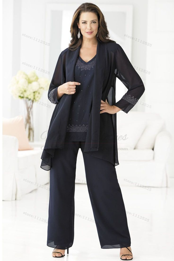 Elegant wedding pant suits - Wedding Outfit Picture More Detailed Picture About Cheap Navy Mother Of The Bride Pant Suits Elegant 3 Piece Plus Size Chiffon Pants Suit Wedding Outfits